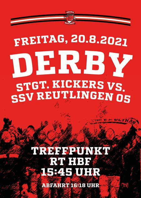 Freitag, 20.8.2021 Derby bei den Stuttgarter Kickers. Treffpunkt 15:45 Uhr RT-HBF, Abfahrt 16:18 Uhr.